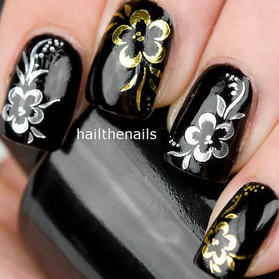 Nail Art Wraps Water Transfers Decals Y40 Gold Silver Rose Flowers Salon Quality • 1.99£
