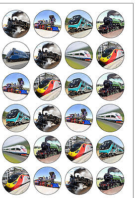 24 PRE-CUT Train Trains Themed Edible Wafer Paper Cake/Cupcake Toppers • 1.99£