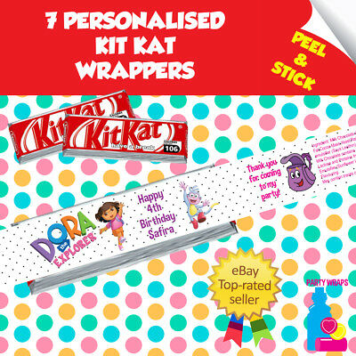 7 Personalised Dora The Explorer Kitkat Birthday Party Self Adhesive Wrappers • 1.96£