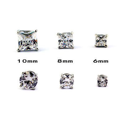 $6.99 • Buy 1 PAIR CZ CLEAR SQUARE / ROUND MAGNETIC Clip-On EARRINGS STUDS Men Women