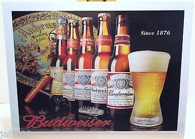 $ CDN7.73 • Buy BUDWEISER HISTORY SINCE 1876, METAL SIGN WITH 5 BOTTLES (APO And FPO  WELCOME)
