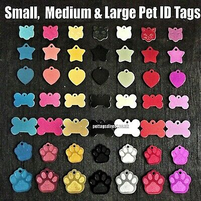 PET Identity Tags DOG & CAT S/M/L Red - Blue - Pink CHEAPEST Discs DEEP ENGRAVED • 3.39£