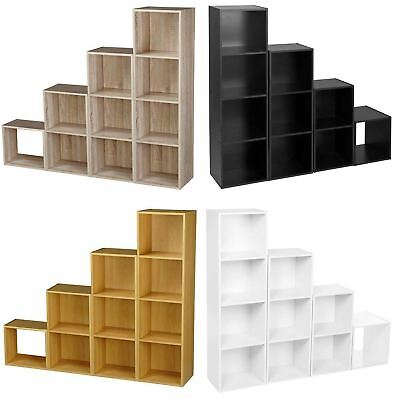 Wooden Storage Unit Cube 2 3 4 Tier Strong Bookcase Shelving Home Office Display • 25.95£