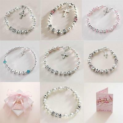 Sterling Silver Personalised First Holy Communion Bracelets For Girls With Name • 29.99£