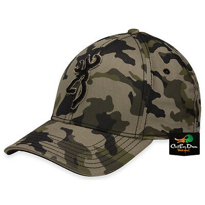 7a5baa111b1 New Browning Stalker Camo Flex Fit Hat Fitted Ball Cap Buckmark Logo L xl •
