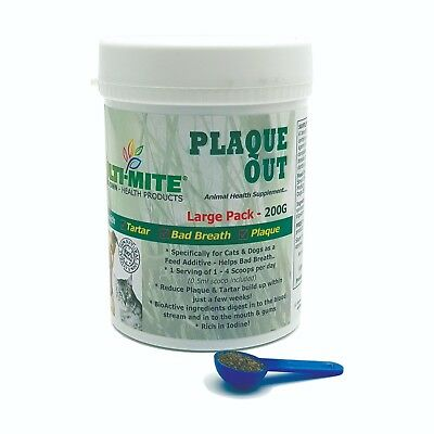 PLAQUE OUT Dogs And Cats - Bad Breath And Tartar Removal 200G Powder FREE Spoon! • 7.95£