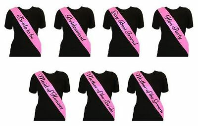 £0.99 • Buy Pink Elegant Hen Party Sashes Girls Night Out Accessories Wedding Bride Bargain