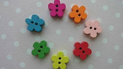 20 Tiny 11mm Cute Baby Wooden Buttons, Small Daisy Flower Shaped, Mixed Colour • 1.99£