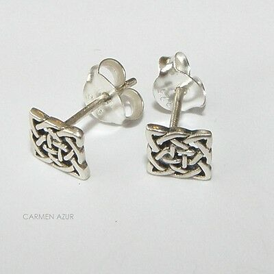 925 Sterling Silver Stud Earrings Square Celtic Knot Design New With Gift Bag • 6.29£