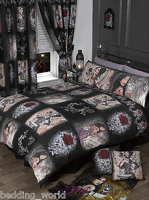 Double Bed Story Of The Rose Duvet Cover Set Alchemy Gothic Mask Black Red White • 35.99£