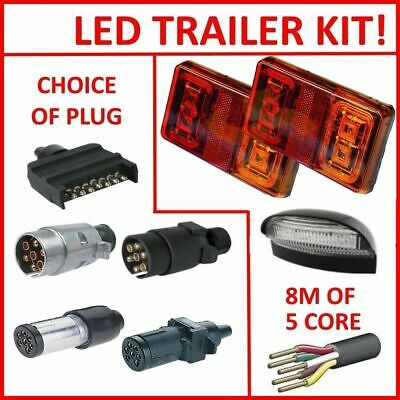 AU36.99 • Buy PAIR OF LED TRAILER LIGHTS, 1 X PLUG, 1 X NUMBER P, 8M X 5 CORE WIRE KIT REWIRE