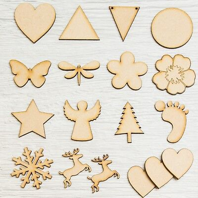 Wooden MDF Assorted Shapes Hearts, Stars, Triangles, Circles Baby Feet Christmas • 0.99£
