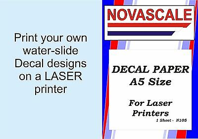 Decal Paper Clear A5 Size LASER Print N105  X1 Sheet • 2.77£