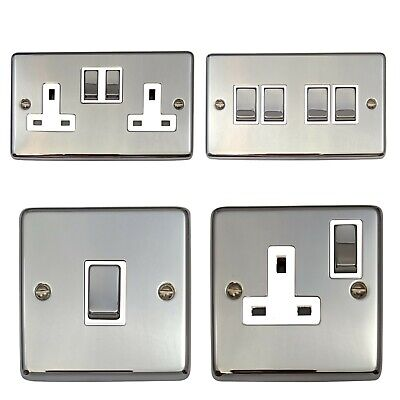 Polished Chrome CC2 Light Switches, Plug Sockets, Dimmers, Cooker, Fuse, TV, BT • 14.95£