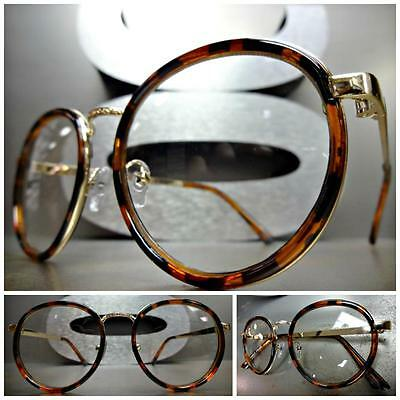e20acc0720139 CLASSIC VINTAGE Style Clear Lens EYE GLASSES Small Round Tortoise   Gold  Frame • 29.99