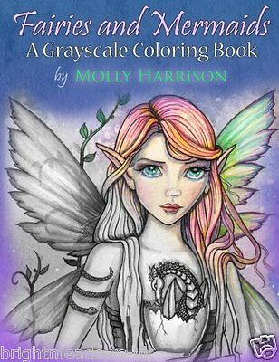 Fairies & Mermaids Greyscale Adult Colouring Book Creative Art Therapy Molly NEW • 9.99£