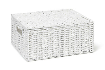 Storage Basket White Large Paper Rope Box With Lid By Arpan • 8.99£