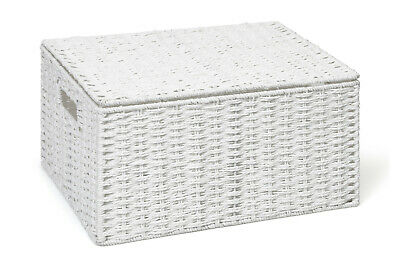 Storage Basket White Extra Large Paper Rope Box With Lid By Arpan • 10.49£