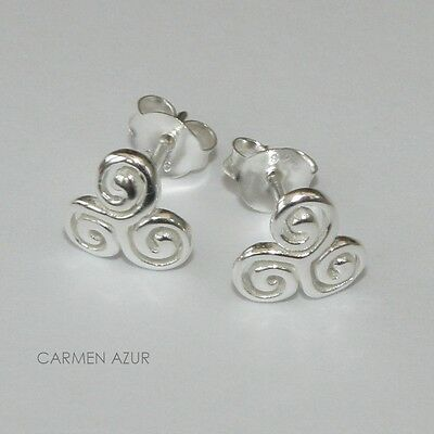 Solid 925 Sterling Silver Stud Earrings Celtic Triskele Knot New With Gift Bag • 8.99£