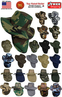 328e8a79 Boonie Hat Fishing Army Military Hiking Snap Brim Neck Cover Bucket Sun  Flap Cap • 9.74