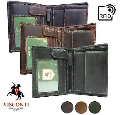 $ CDN40.88 • Buy Mens RFID Wallet Real Leather Trifold Brown, Tan, Green Visconti 709 New In Box