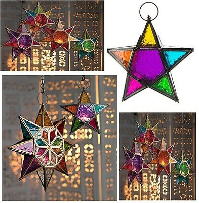 Moroccan Style Star Hanging Glass Lantern Tea Light Holder Coloured Home Garden  • 18.70$