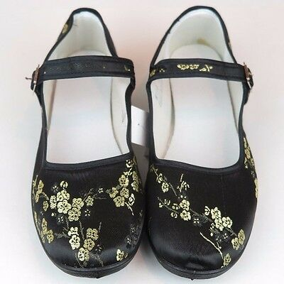 Women's Chinese Mary Jane Plum Floral Brocade Shoes Black & Gold Size 5 - 11 New • 6.73£
