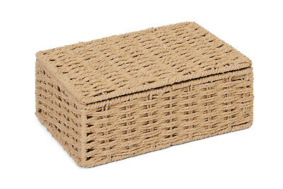 Small Natural Paper Rope Storage Baskets Boxes Hampers With Lids WB-9694S • 6.49£
