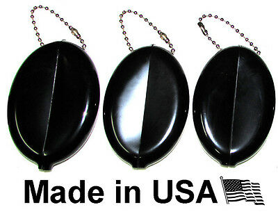 $8.99 • Buy 3 Black Oval Squeeze Coin Holder   Keychain Money Change Purse   Made In Usa