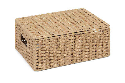 Medium Natural  Paper Rope Storage Baskets Boxes Hampers With Lids WB-9694M • 6.99£