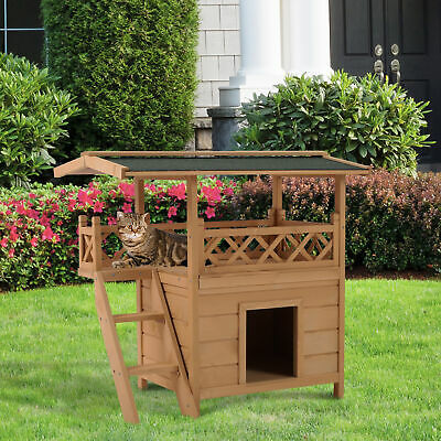 $109.99 • Buy Wooden Pet House Cat Room Dog Puppy Large Kennel Indoor Outdoor Shelter W/ Roof