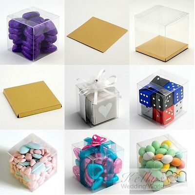 £11.72 • Buy Clear Cube Favour Box PVC Chocolate Cup Cake Wedding (base Available Separately)