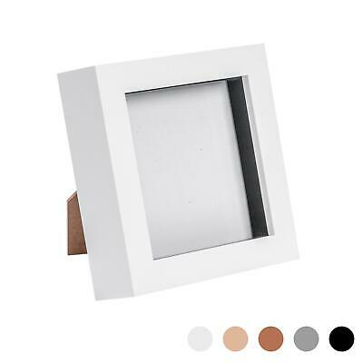 Box Picture Frame Deep 3D Photo Display 4x4 Inch Square Standing Hanging White • 7.99£