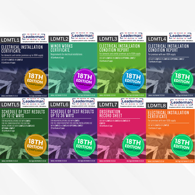 Leaderman Electrical Test Certificate Book 18th Edition Compliant LDMTL1-8 • 13.95£