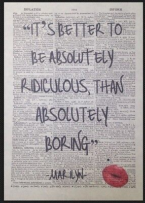 Marilyn Monroe Quote Absolutely Ridiculous Vintage Dictionary Art Print Picture • 4£