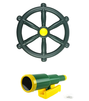 Kids Climbing Frame Green Pirate Bundle Telescope And Pirate Wheel • 20.99£