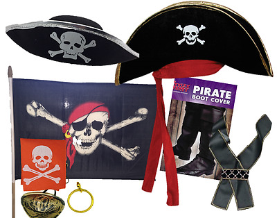 Adult Pirate Costume Accessories Hat Sword Beard Eye Patch Boot Cover Sash • 3.99£