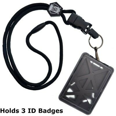 $9.99 • Buy Specialist ID THREE Card Heavy Duty Plastic Badge Holder With Lanyard - Top Load