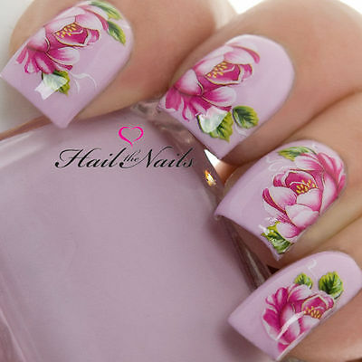 £1.99 • Buy Nail Art Wraps Water Transfers Decals Y604 Red Flowers Nails Rose Salon Quality