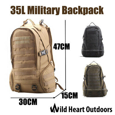 AU21.95 • Buy 35L Military Backpack Rucksack Army Tactical Bag Water Repellent Hiking Camping