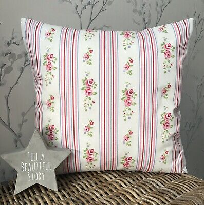 £6.50 • Buy Clarke And Clarke Chintz Pink Floral Stripe 16  Cushion Cover Shabby Chic