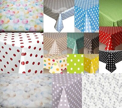 Plain Polka Dots Pvc Plastic Vinyl Table Cloth Vintage Retro Occasions Clear • 8.50£