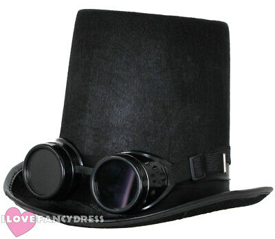 £6.99 • Buy Steampunk Top Hat And Black Goggles Gothic Sci Fi Victorian Fancy Dress Costume