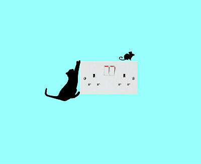 Cat And Mouse Light Switch Surround Plug Socket Wall Art Sticker Pack Of 3 Kids • 1.99£