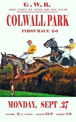£5.13 • Buy Vintage GWR Colwall Park Herefordshire Horse Racing Railway Poster A3 Print