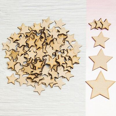 50x Wooden Stars Shapes Laser Cut MDF Blank Embellishments Art Craft Decor 20mm • 2.69£