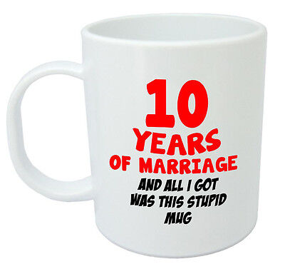 10 Years Of Marriage Mug 10th Wedding Anniversary Gifts For Women, Men, Him, Her • 7.99£