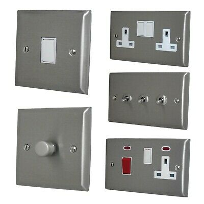 Spectrum Brushed Stainless Steel SSSW Light Switches, Plug Sockets, Dimmers, TV • 14.50£