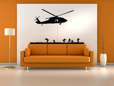 $60.99 • Buy Military Helicopter Assault Troopers Rappelling Wall Decal Vinyl Military Sticke