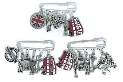 London Charm Pin Brooch Badge UK Queen Bus Big Ben Soldier - Various Designs • 4.50£
